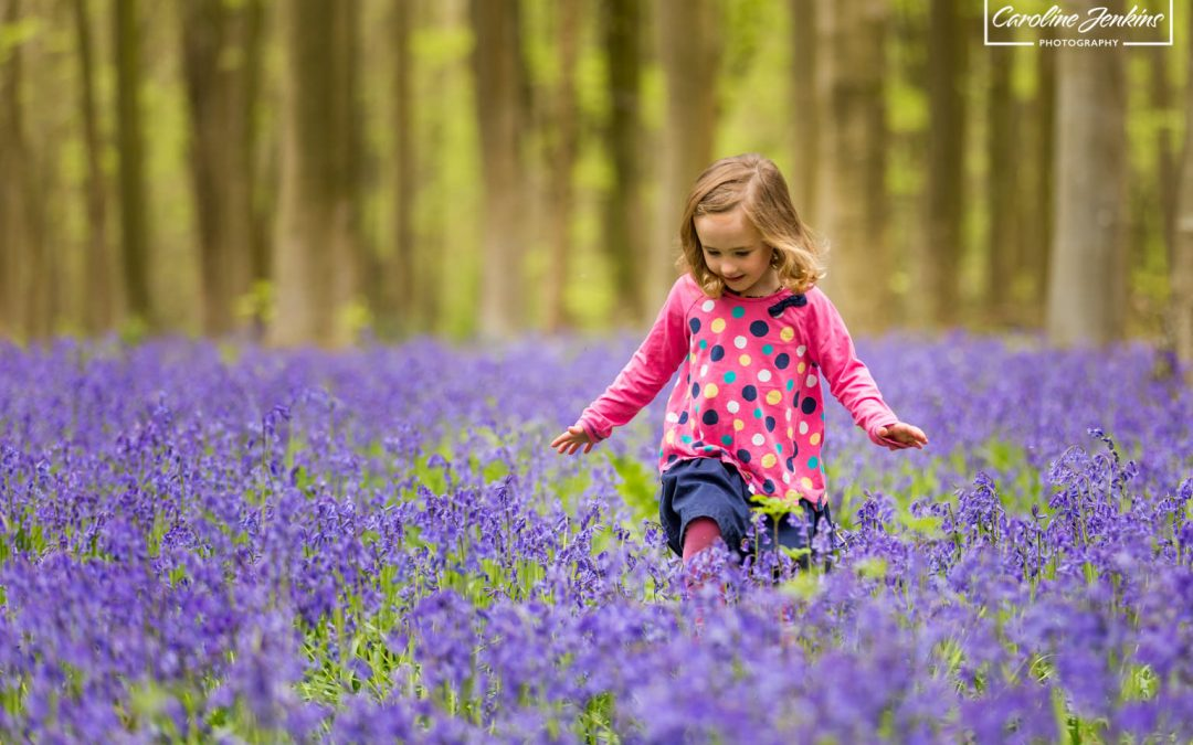 Kids Photography in the Bluebells in Winchester