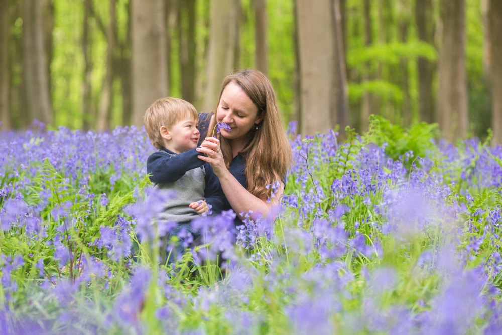 bluebell shoot in winchester - mum and son smelling bluebells