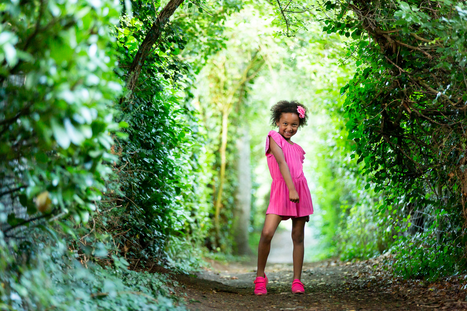 young girl strikes a pose for the camera during  a model photoshoot in chandlers ford