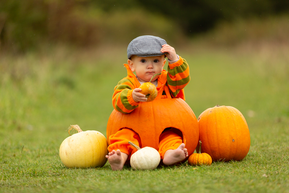 baby looks cute in a peaked cap during baby pumpkin shoot